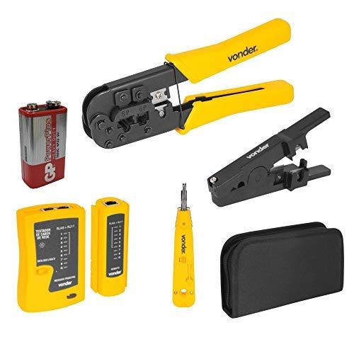 Vonder - Kit de Ferramentas, Alicate de Crimpar cabo de rede RJ11, RJ12, RJ45, testador de cabo de rede + Acessórios