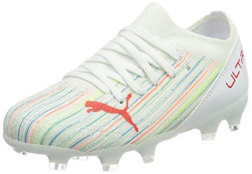 Puma Ultra 3.2 FG/AG JR, Football Shoe, White Red Blast White, 37 EU