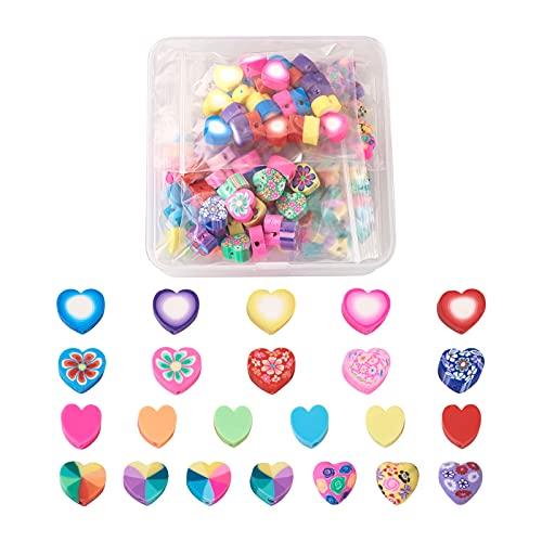 Beadthoven - 150 cuentas de arcilla polimérica, 5 estilos multicolores, hechos a mano, con forma de corazón, para hacer joyas. Agujero: 1,2 - 2 mm