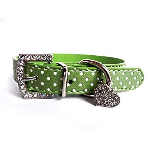 Haustiere Hundehalsband Polka Dot Pattern Hundezubehör For Kleine Hundehalsbänder Und Leinen For Tiere Herz Kristall Anhänger Strong (Color : Green, Size : M)