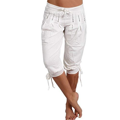 Shujin Pantalones bombachos de verano para mujer, de 3/4 de longitud, ligeros, capri, para yoga, con cinturón de tela, estampado de flores Color blanco con lentejuelas. L
