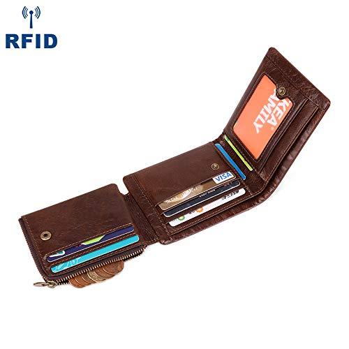 XUEE portemonnees heren RFID blokkeren echt leer met grote munt zak, 10 credit card houders, 2 bankbiljetten compartimenten & ID venster