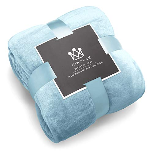Kingole Flannel Fleece Microfiber Throw Blanket, Luxury Light Blue Twin Size Lightweight Cozy Couch Bed Super Soft and Warm Plush Solid Color 350GSM (66 x 90 inches)
