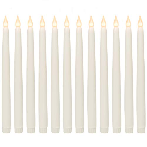 WYZworks 11' Ivory Taper Flameless LED Faux Wax Candle Lights 12PK