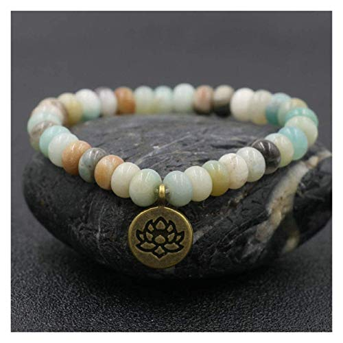 HAOKTSB Pulsera de Piedra Mujer, 7 Chakra Perlas de Piedra Natural Jasper Brazalete elástico Dorado Loto Colgante joyería Yoga energía Equilibrio Encanto difusor Mujer Pulsera Pulsera de Piedra