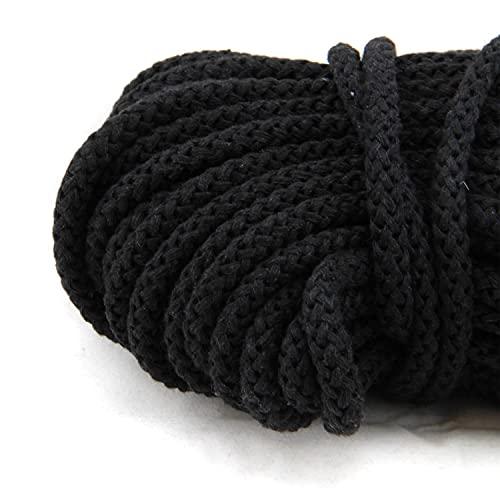 NTS-Nähtechnik 50m Kordel | 100% Baumwolle | 8mm mit Polyester Kern | schwarz
