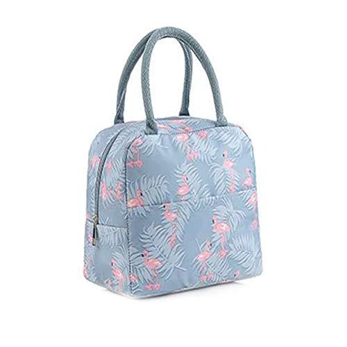 Bolsa de almuerzo y cubiertos de acero inoxidable con cuchara aislante, impermeable, 3 piezas, color azul