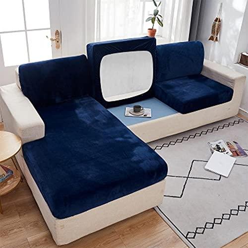 Funda de cojín de sofá de terciopelo grueso, funda de cojín de sofá de protección elástica de color sólido para sala de estar, funda de sofá de 1/2/3/4 plazas, azul marino, 1 pieza, tamaño normal, 2