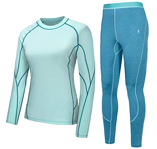 Little Donkey Andy Women's Soft Thermal Underwear Long Johns Set Active Performance Top & Bottom Base Layer Blue L