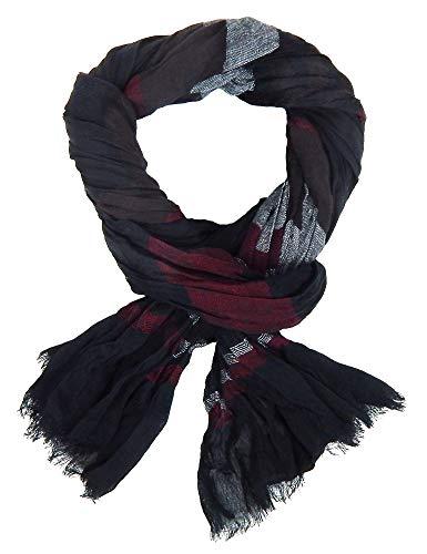 Ella Jonte Écharpes foulard d'homme élégant et tendance de la dernière collection by Casual-Style noir burgund à rayuere - léger et très agréable à po