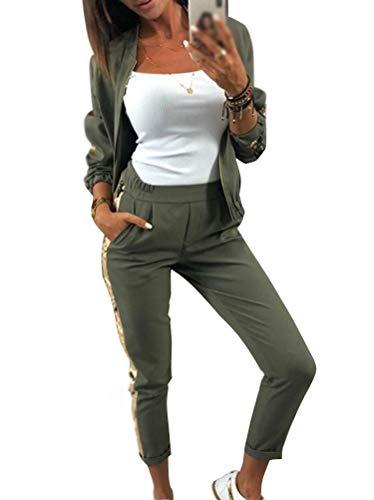 Minetom Damen Chic Sequin Patchwork Trainingsanzug Jacke mit Reißverschluss Mode Herbst Langarm Mantel Hose Sportanzüge 2 Stück (Armeegrün, 40)