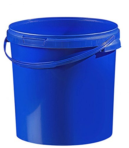 Fuduu.de Cubo de plástico de colores (21,1 l, con tapa), color azul