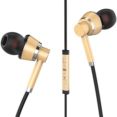 Wired Headphone Metal Earbuds by Amasing Noise Cancelling Stereo Heave Bass Earphones with Micphone Mic with Volume Control?in Ear Headphones Magnetic Design for iPhone 5 6 for Samsung M11 Gold