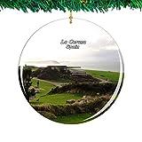 Weekino España Monte de San Pedro La Coruña Navidad Ornamento Ciudad Viajar Recuerdo Colección Doble Cara Porcelana 2.85 Pulgadas Decoración de árbol Colgante
