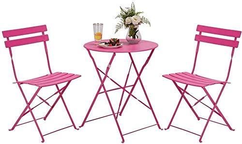MUY Muebles de jardín juegos de patio/mesa plegable y sillas 3 piezas...