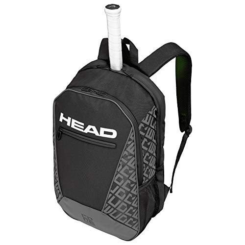 HEAD Core Tennis Backpack - 2 Racquet Carrying Bag w  Padded Shoulder Straps, Black Grey