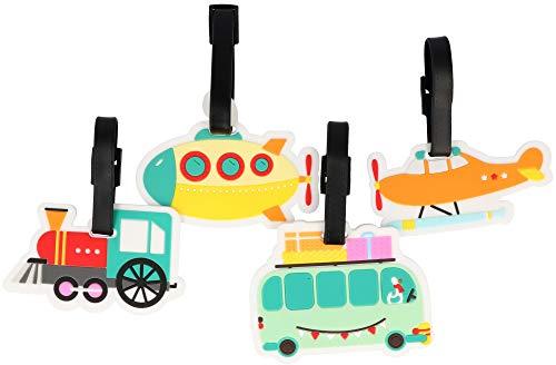 com-four® 4X Étiquette de Bagage en Plastique Flexible de Couleurs Vives - étiquette de Bagage pour étiquetage - Bagage (04 pièces - Bus. Train. Avion. sous-Marin)