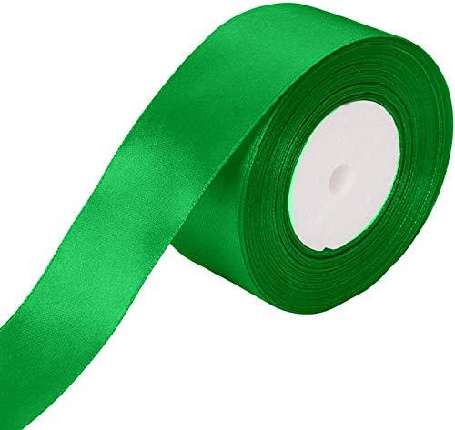 WedDecor 25m dubbelzijdig satijnen lint rol - rol van polyester stof voor naaien, kunst en ambachten, strikken, jurken, geschenkverpakking - decoratie voor bruiloft, verjaardag, kleding 40mm Groen