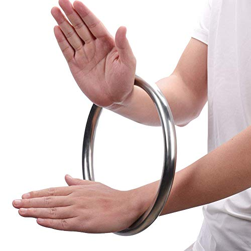 IRQ Wing Chun Bamboo/Stainless Steel Rattan Ring YeWen Sau Sticky kung Fu Weapons Hand Strength Training Tsun Siu Lum Taiji Physical Exercise Ring for Tai Chi Martial Arts (Stainless-Steel)