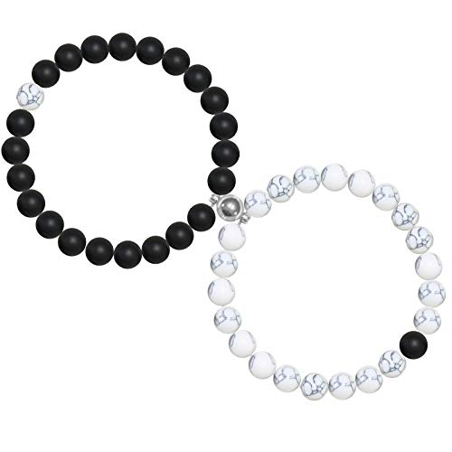 Sunssy 1Pair Magnetic Couples Bracelets for Women Men Charm Beads Matching Bracelets for Couples Connect Bracelet for Him And Her Couples Gifts Natural Volcanic Stone Bracelets With Box