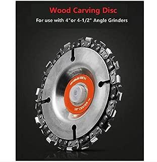 Wood Carving Disc,4 Inch Angle Grinder Chain Disc Double Saw Teeth Anti-Kickback IRmm Woodcarving Saw Blade,22 Teeth, 5/8