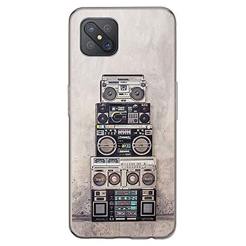 BJJ SHOP Funda Transparente para [ OPPO A92s ], Carcasa de Silicona Flexible TPU, diseño : Radio Cassette Musica Boom Box