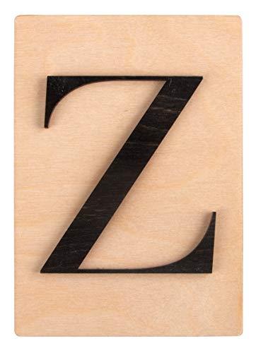 Rayher Letra de madera Z en 3D, negro, 10,5x14,8 cm, sobre cuadro de madera, 63117576