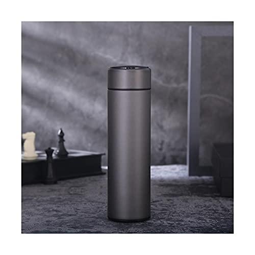 DingHome 480ml de Acero Inoxidable Thermos Botella de Temperatura Inteligente Termos Temos Taza de Negocios Portátil Taza de Regalo Botella de Agua Personalizado (Color : Gris)