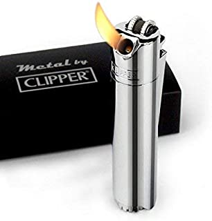 Clipper Cigarette Pipe Butane Gas Metal Lighter Refillable - 45 Angle Soft Flame