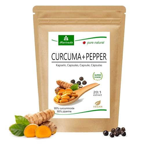 MoriVeda® Curcuma + Pfeffer Extrakt Kapseln | 10.000 mg Kurkuma in nur einer Kapsel | 95% Curcumin, 95% Piperin | vegan, glutenfrei, laktosefrei | höchste Bioverfügbarkeit