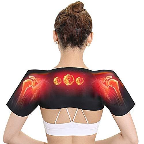 Ajing Wärmetherapie-Pad, Schulter-Thermotherapie-Pad, doppelte Schulterstütze, Magnettherapie, selbstheizend, Schulterbandage, Schutz, Schwarz, XL