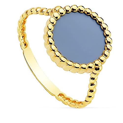 Sortija oro 18k mujer gallones centro piedra ágata 10mm. redonda azul claro borde bandas