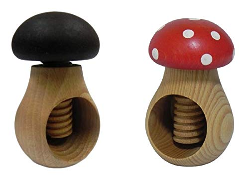 Wooden World 2 Nussknacker Set Dunkelbraun und Toadstool Nussknacker aus natürlichem Buchenholz - SEHR Fester Pilz