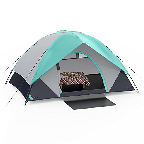 Ciays Camping Tent 4 Person Waterproof Family Tent with Removable Rainfly and Carry Bag Lightweight Tent with Stakes for Camping Traveling Backpacking Hiking Outdoors(Teal) LC504