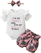 Toddler Girl Clothes Summer Outfit Daddys Girl Baby Clothes Ruffle Sleeve White Romper Onesie Floral Shorts Girl Boutique Clothing Set 18-24 Months