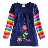 VIKITA Mädchen Blumen Langarm Baumwolle Kleid EINWEG H5802LONG 3T