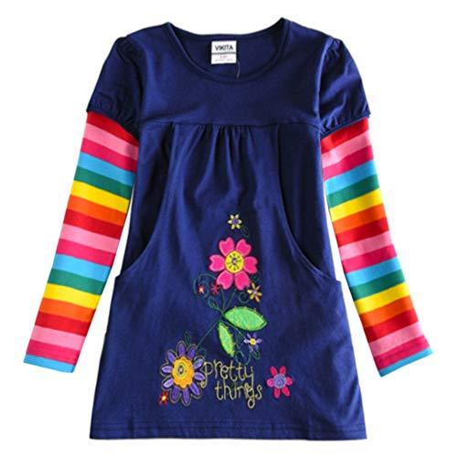 VIKITA Mädchen Blumen Langarm Baumwolle Kleid EINWEG H5802LONG 7T