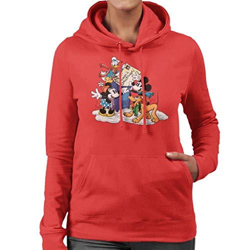 Disney Christmas Mickey Mouse - Sudadera con capucha para mujer Rojo rosso XXL