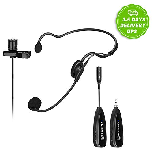Wireless Microphone System,KIMAFUN 2.4G Wireless Microphone Transmitter/Receiver Set with Headset /Lavalier Lapel Mics, Ideal for Teaching, Weddings,Presentations,School Play,G102 2.4 Ghz Wireless Phone