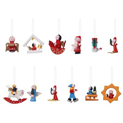 Toyvian 12 Stücke Weihnachten Deko Figuren Weihnachtsbaum Anhänger Holzanhänger Christbaumanhänger Holz Christbaumschmuck Baumschmuck Weihnachtsdeko zum Aufhängen