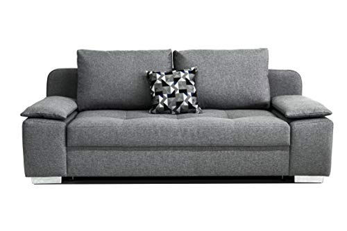 Collection AB B-famous Paulina Schlafsofa mit Bettfunktion und Bettkasten, inklusive Topper, Strukturstoff grau, 203x105x85