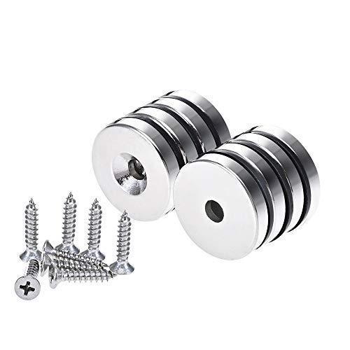 Anksixx 8 Stück Neodym Disc Magnete 25x5 mm Super Stark Permanent Rare Earth Magnete mit Stahlbecher und Schrauben