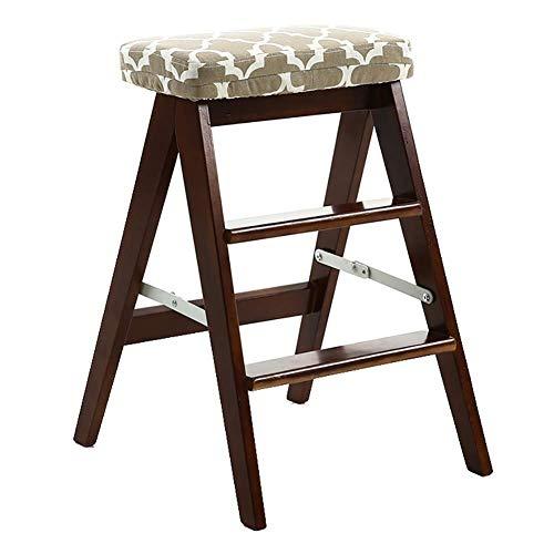 GUOXY Multifunktions-3-Stufen-Holzleiter Faltbare-Küche Haushalt Trittschemel Stuhl Tragbarer Leiter,Braun