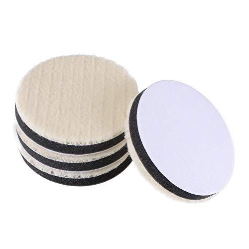 Uxcell 4 pulgadas de fieltro de lana esponja de pulido gancho y bucle rueda de pulido grueso pulido para auto Orbital Pulidor Buffer 4 piezas