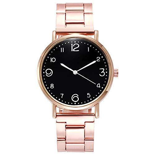 JZDH Relojes para Mujer Relojes de Mujer Red Casual con Estrellas Decoración Reloj de Pulsera Moda Wild Belt Watch Relojes Decorativos Casuales para Niñas Damas (Color : Black)