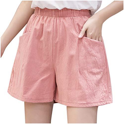 VESNIBA Pantaloncini corti da donna, estivi, per il tempo libero, per le vacanze, vita elasticizzata con tasche, in cotone, lino, per la spiaggia, per gli sport acquatici Colore: rosa. L