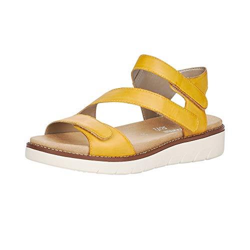 Remonte Sandały damskie D2050, sandały z paskiem, rzymskie sandały, buty gladiatorskie, buty letnie, damskie, żółte, 38 EU / 5 UK