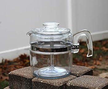 Vintage Pyrex 7756 6 Cup Stovetop Percolator Flameware Slight Blue Tint