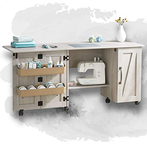 Wooden Folding Sewing Cabinet, Multifunction Large Sewing Craft Table with Storage Shelves and Lockable Casters, Space-Saving Wood Sewing Furniture for Small Spaces, Farmhouse Rustic (Rustic White)