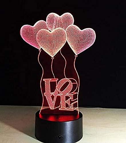 Lámpara de noche 3D antorcha mesa amor corazón USB Touch Rc remoto 7 colores cambiantes fiesta regalos noche decoración habitación luces decoración hogar luz regalos led lámparas de cumpleaños